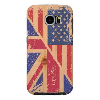 Bandera americana inglesa del Grunge en la madera Fundas Samsung Galaxy S6