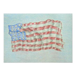 """bandera americana invitación 5"""" x 7"""""""