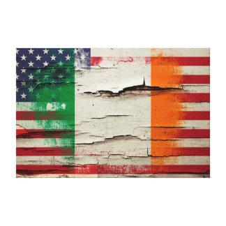 Bandera americana irlandesa de la pintura el | del impresión en lienzo