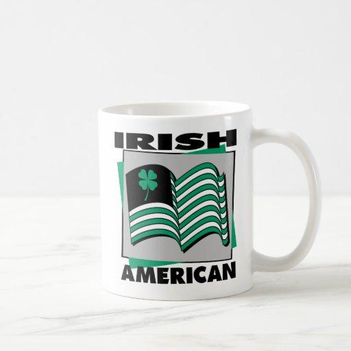 Bandera americana irlandesa tazas
