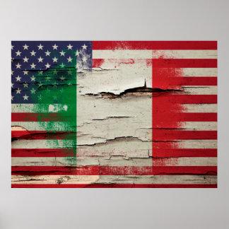 Bandera americana italiana de la pintura el | del póster