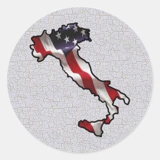 Bandera americana italiana etiquetas redondas