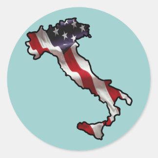 Bandera americana italiana pegatina redonda