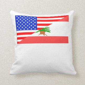 Bandera americana libanesa cojín decorativo