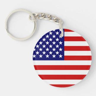 Bandera americana llavero redondo acrílico a doble cara