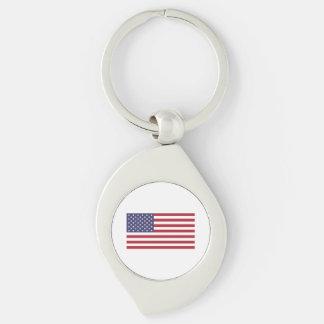 Bandera americana llavero plateado en forma de espiral