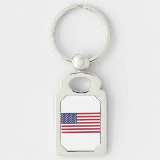 Bandera americana llavero plateado rectangular