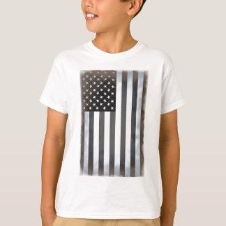 Bandera americana negra y blanca de los E.E.U.U. Polera