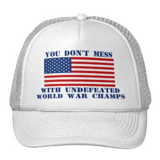 Bandera americana - no ensucie con los campeones d gorras