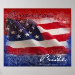 Bandera americana orgullosa posters