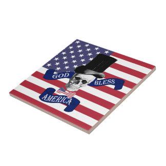 Bandera americana patriótica azulejo cuadrado pequeño