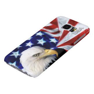 ¡Bandera americana patriótica con Eagle calvo - Fundas Samsung Galaxy S6