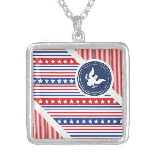 Bandera americana patriótica con Eagle Pendiente Personalizado