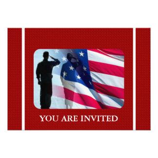 Bandera americana patriótica con el soldado de vet