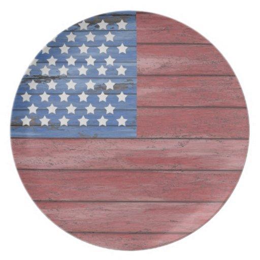 Bandera americana patriótica de madera del granero platos para fiestas