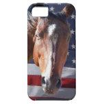 Bandera americana patriótica del caballo iPhone 5 Case-Mate fundas