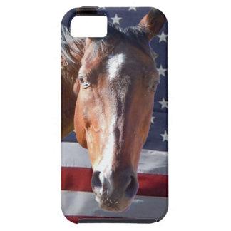Bandera americana patriótica del caballo iPhone 5 Case-Mate funda