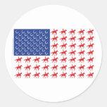 Bandera americana patriótica del caballo y del etiquetas redondas
