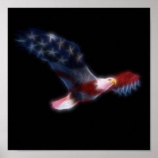 Bandera americana patriótica Eagle calvo Póster