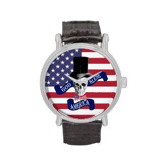 Bandera americana patriótica reloj de mano