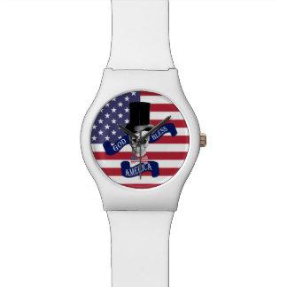Bandera americana patriótica relojes de pulsera