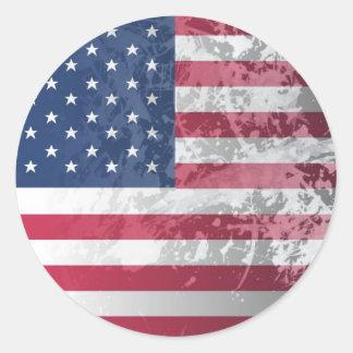 Bandera americana, patriotismo del grunge de los etiqueta redonda