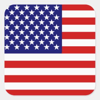 Bandera americana calcomanías cuadradass personalizadas