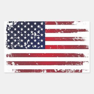 Bandera americana rectangular pegatinas