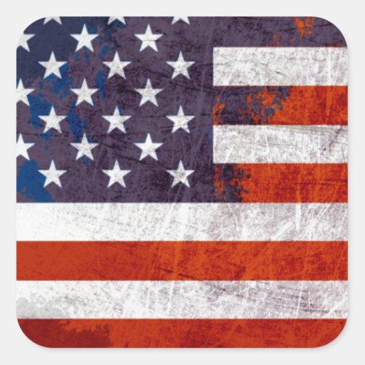 Bandera americana pegatina cuadrada