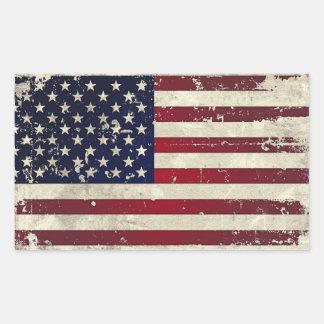 Bandera americana pegatina rectangular