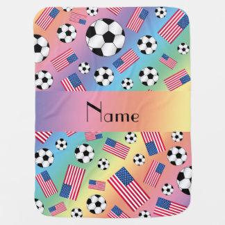 Bandera americana personalizada del fútbol mantas de bebé