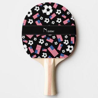 Bandera americana personalizada del fútbol negro pala de tenis de mesa