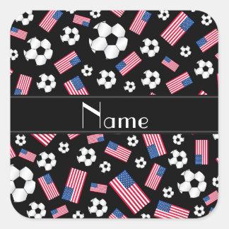 Bandera americana personalizada del fútbol negro calcomania cuadradas personalizadas