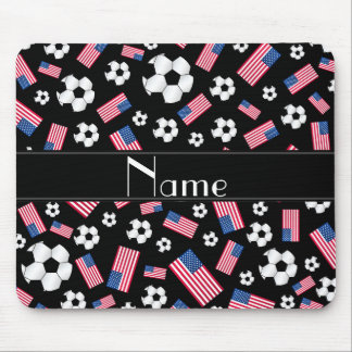 Bandera americana personalizada del fútbol negro tapetes de ratón
