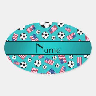 Bandera americana personalizada del fútbol calcomanía óval personalizadas