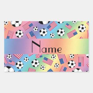 Bandera americana personalizada del fútbol rectangular pegatinas