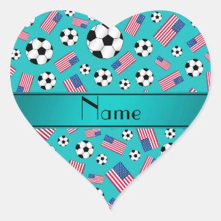 Bandera americana personalizada del fútbol calcomanía corazón personalizadas