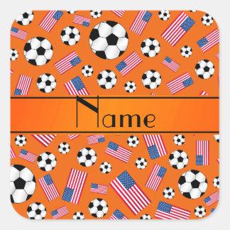 Bandera americana personalizada del fútbol calcomanía cuadrada personalizada