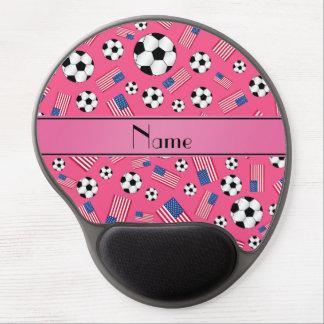 Bandera americana personalizada del fútbol rosado alfombrilla de raton con gel