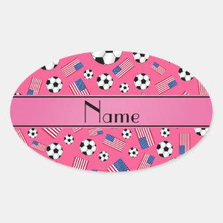 Bandera americana personalizada del fútbol rosado calcomanía óval