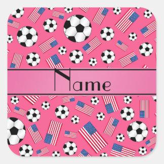 Bandera americana personalizada del fútbol rosado colcomania cuadrada