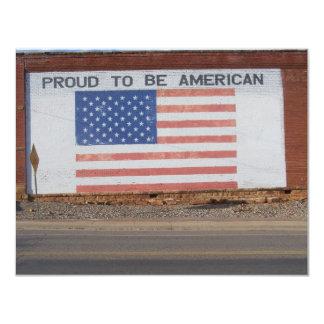 """Bandera americana pintada en el edificio viejo invitación 4.25"""" x 5.5"""""""