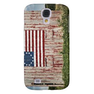 Bandera americana pintada en granero