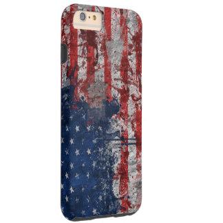 Bandera americana pintada en la pared del Grunge Funda Para iPhone 6 Plus Tough