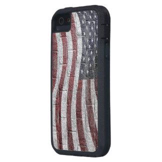 Bandera americana pintada en textura de la pared iPhone 5 Case-Mate protector