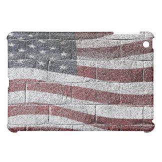 Bandera americana pintada en textura de la pared