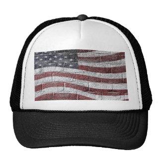 Bandera americana pintada en textura de la pared gorro
