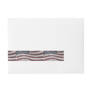Bandera americana pintada en textura de la pared etiquetas postales
