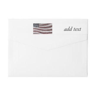 Bandera americana pintada en textura de la pared etiquetas envolventes de remitente