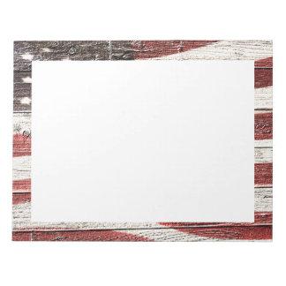 Bandera americana pintada en textura de madera bloc de notas
